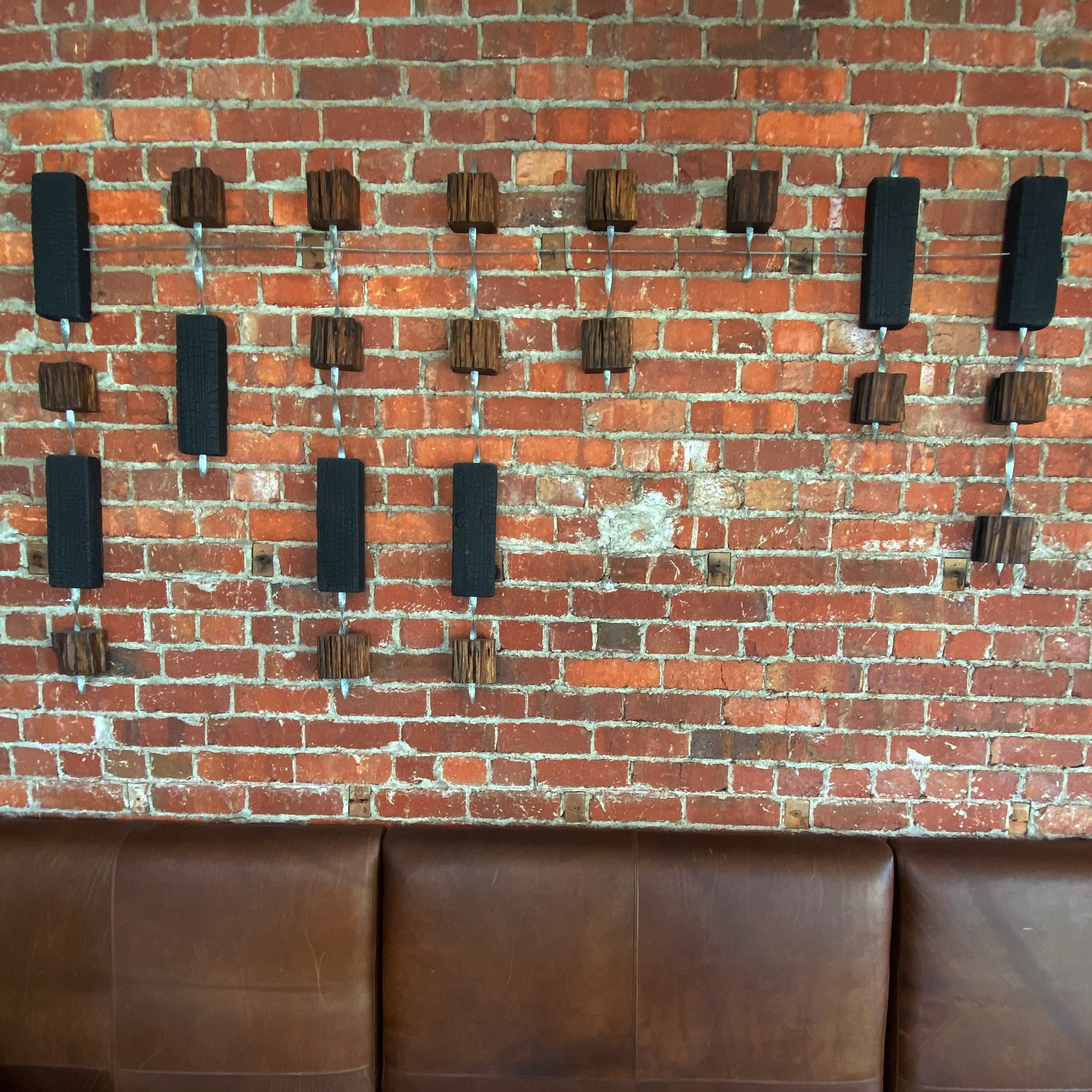 Wooden blocks hanging on a wall